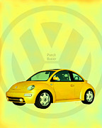 Whimsical Digital Art Posters - Punch Buggy Poster by Bob Orsillo