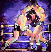 Boxer Portrait Paintings - Punch out by Robert Phelps