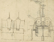 Sketch Drawings - Puncher from Atlantic Codex by Leonardo Da Vinci