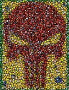 Bottle Cap Drawings Framed Prints - Punisher Bottle Cap Mosaic Framed Print by Paul Van Scott
