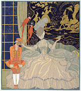 Rich Framed Prints - Punishing the Page  Framed Print by Georges Barbier