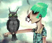 Shirt Digital Art - Punk N a Bird by Ben Geiger