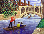Ronald Haber Framed Prints - Punting under the Bridge of Sighs - Cambridge Framed Print by Ronald Haber