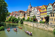 City Scape Metal Prints - Punts on river Neckar in lovely old Tuebingen Germany Metal Print by Matthias Hauser