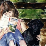 Friends Painting Acrylic Prints - Pup and Paperback Acrylic Print by Molly Poole