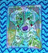 Textiles Mixed Media Posters - Pup Poster by Susan Sorrell