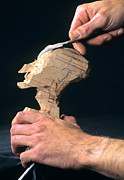 Out Of Work Posters - Puppet being carved from wood Poster by Bernard Jaubert
