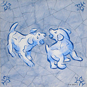 Netherlands Paintings - Puppies Delft Blue by Raymond Van den Berg