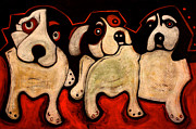 Puppies Painting Originals - Puppies in a Row by Cindy Suter