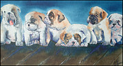 Puppies Painting Originals - Puppies by Linda McKernan