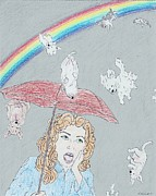 Puppies Drawings Posters - Puppies n Rainbows Poster by Ashley Nesselrodt
