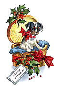 Puppy Digital Art Posters - Puppy Christmas Poster by Walt Foegelle