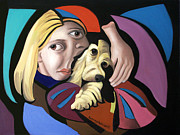 Cubism Posters - Puppy Love Poster by Anthony Falbo
