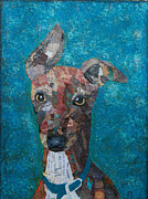 Greyhound Mixed Media Framed Prints - Puppy Love Framed Print by Julie  Mortillaro