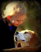 Beagle Posters - Puppy Love Poster by Karen Wiles