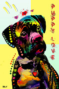 Pittie Posters - Puppy Love Poster by Mark Ashkenazi