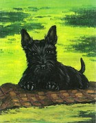 Scottie Portrait Paintings - Puppy by Margaryta Yermolayeva