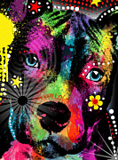 Pit Bull Mixed Media Metal Prints - Puppy  Metal Print by Mark Ashkenazi