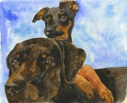 Dog Breeds Paintings - Puppy Pals by Sheryl Heatherly Hawkins
