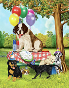 Puppies Digital Art Prints - Puppy Party Print by Amalou Studio