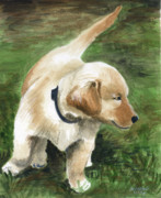 Puppy Mixed Media Originals - Puppy Patrol by Christine Winship