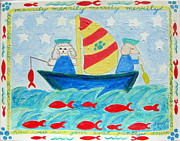Puppy Sailors Print by Diane Pape