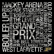 Quad Metal Prints - Purdue College Colors Subway Art Metal Print by Replay Photos