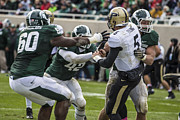 Spartan Framed Prints - Purdue QB getting hit Framed Print by John McGraw