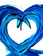 Blue And White Painting Prints - Pure Water 200 Print by Sharon Cummings