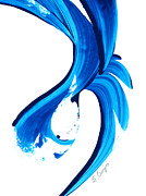Blue And White Painting Prints - Pure Water 260 Print by Sharon Cummings