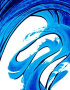 Water Prints Prints - Pure Water 315 - Blue Abstract Art by Sharon Cummings Print by Sharon Cummings