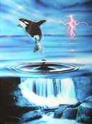 Lightning Painting Prints - Pure Water Systems Print by Christian Chapman Art