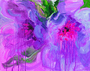 Fun Mixed Media Prints - Purple Abstract peonies flowers painting Print by Svetlana Novikova