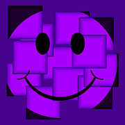 Smiley Face Posters - Purple Abstract Smiley Face Poster by David G Paul