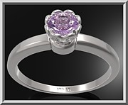 Custom Ring Jewelry - Purple Amethyst Sterling Silver Engagement Ring - Delicate Flower Ring by Roi Avidar