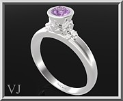 Custom Ring Jewelry - Purple Amethyst Sterling Silver Engagement Ring by Roi Avidar