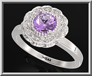 Promise Ring Jewelry - Purple Amethyst Sterling Silver Engagement Ring - Statement Flower Ring by Roi Avidar