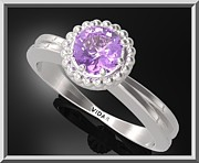 Promise Ring Jewelry - Purple Amethyst Sterling Silver Engagement Ring With Little Silver Balls by Roi Avidar