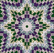 Patchwork Quilts Framed Prints - Purple and Green Patchwork Art Framed Print by Barbara Griffin