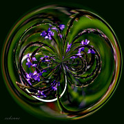 Chanda Henne Posters - Purple and Green Spirals Poster by Chanda Henne