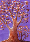 Autumn Prints Drawings Prints - Purple and Orange Print by Anastasiya Malakhova