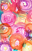 Purple And Orange Flowers Print by Linda Woods