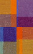Abstracted Digital Art Prints - Purple and Orange Get Married Print by Michelle Calkins