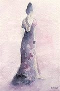 Fashion Art Prints Paintings - Purple and Pink Evening Dress Watecolor Fashion Illustration by Beverly Brown Prints