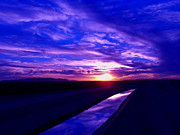 Leading Lines Posters - Purple and Sapphire Sunset Poster by JaqStone