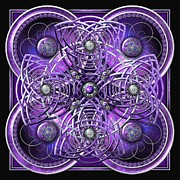 Celtic Spiral Posters - Purple and Silver Celtic Cross Poster by Richard Barnes