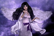 Purple Sash Prints - Purple Angel Print by Suzanne Amberson