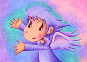 Mascot Drawings Framed Prints - Purple angel Framed Print by T Koni