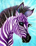 Jungle Animals Paintings - Purple baby Zebra by Janine Riley