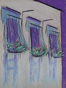 Iron  Pastels Posters - Purple Balconies Poster by Marcia Meade